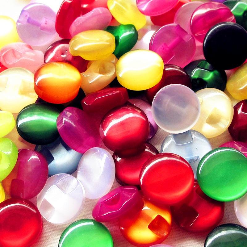 30/100 unidades/pacote crianças roupas doces cor olho gato pedra botão/costura lotes e0007