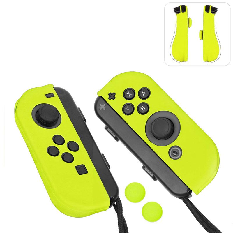 Protectores de Gel para Joy-Con, Con tapas de palancas de pulgar para Nintendo Switch (Amarillo Neón)