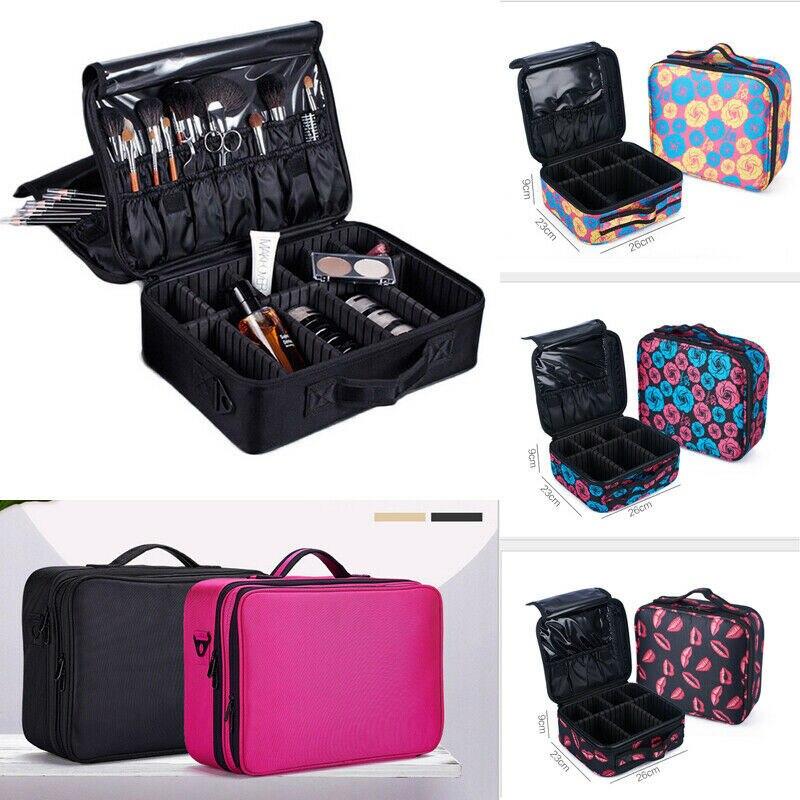 NoEnname, профессиональная большая косметичка для макияжа, косметический Чехол, органайзер с ручкой для хранения, дорожный набор, косметически...