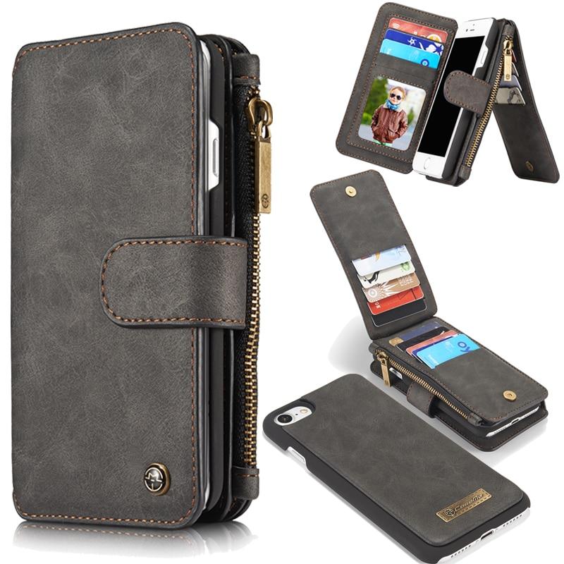 7s para iphone 7 plus Funda de cuero Mini Cartera de lujo soporte Retro 2 en 1 contraportada accesorios Flip carcasa para iphone 6S 6 7 5 5S