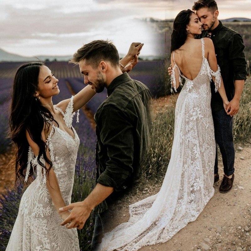 Vintage Bohemia Beach Wedding Dress 2019 Ivory Lace Champagne lining Vestido de Noiva Sexy V Neck Backless Boho Wedding Dres