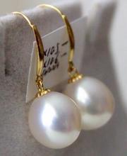 Livraison gratuite cascade paire de 12-13mm naturel baroque blanc perle boucle doreille 14
