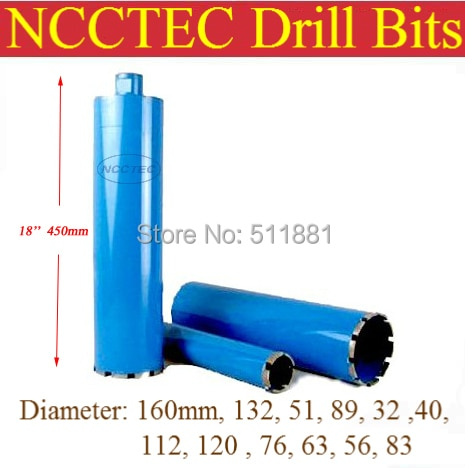 89mm*450mm NCCTEC crown diamond drilling bits   3.6'' concrete wall wet core bits   Professional engineering core drill