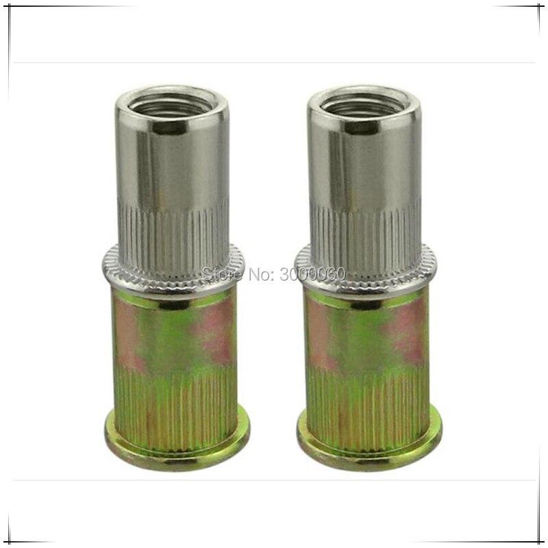 Metric Size Color Zinc Plated Steel Knurled Body Flat Head Rivet Nut 200pcs/lot