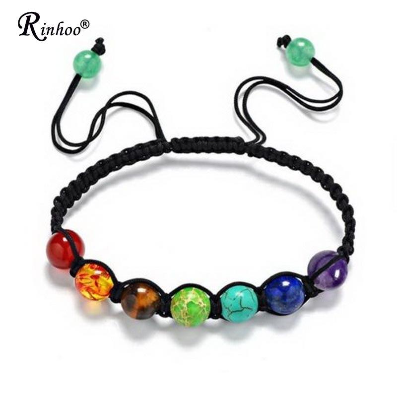 Rinhoo 7 Chakra Healing Yoga Reiki Prayer Bead Stones Balance Beaded Warp Bracelet Braided Bangle Ad