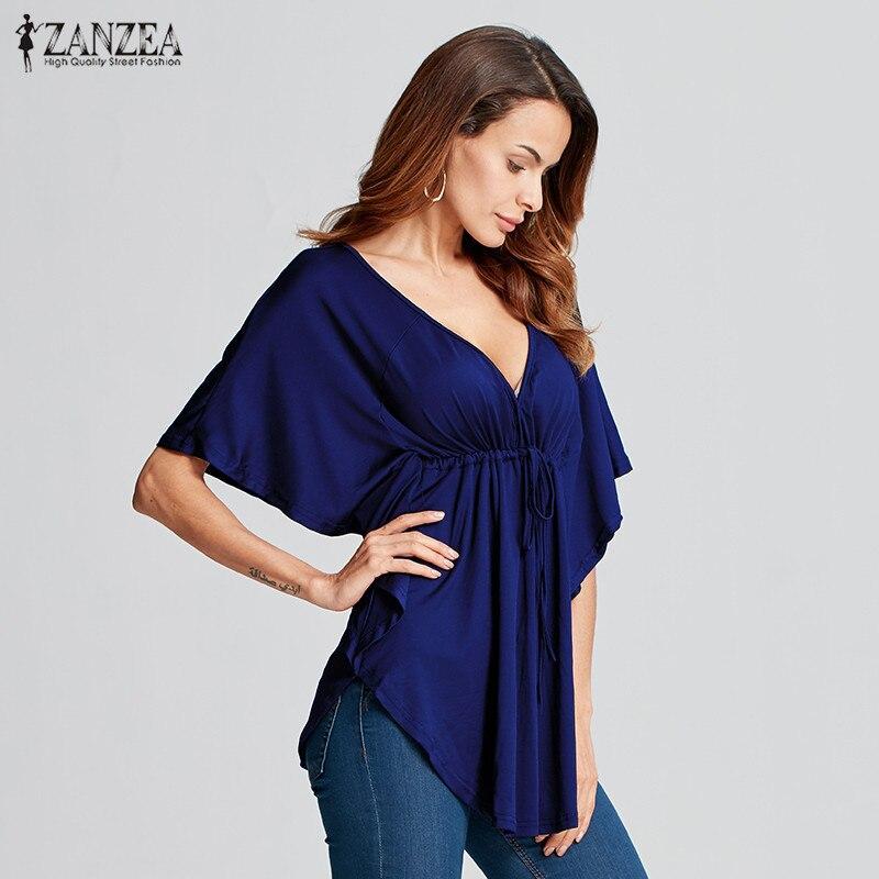 ZANZEA 2020 Womens Casual Loose Sexy Deep V-neck  Sleeve Tops Tee Ladies Solid Blouses Shirts Blusas Femininas Plus Size