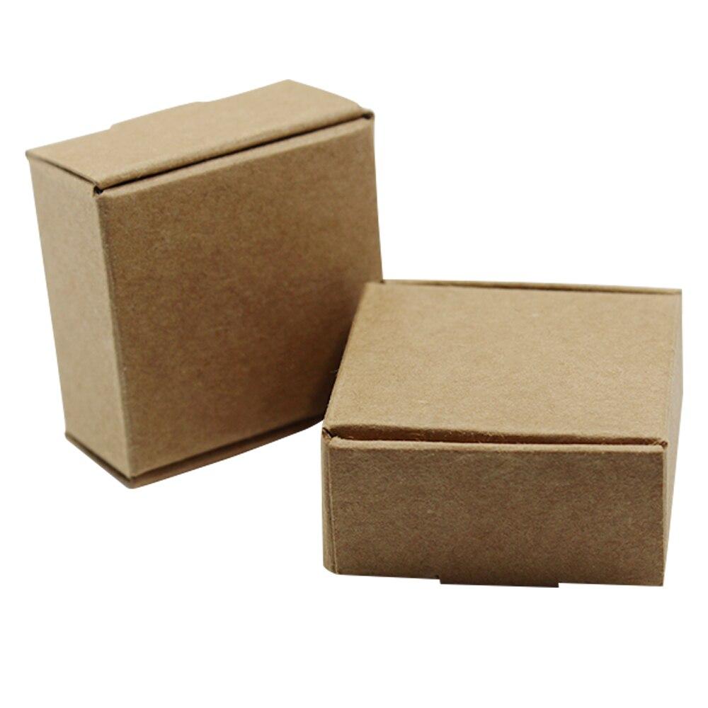 Caja cuadrada de cartón marrón de 150 Uds para regalo, caja de cartón en blanco para embalaje, artesanía DIY para pastel, dulces, jabón hecho a mano, tamaño pequeño 22