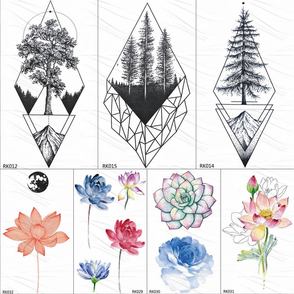OMMGO Geometric Pine Tree Mountain Temporary Tattoos Sticker Triangle Diamond Custom Tattoo Fake Tatoos DIY Black Body Art Arm