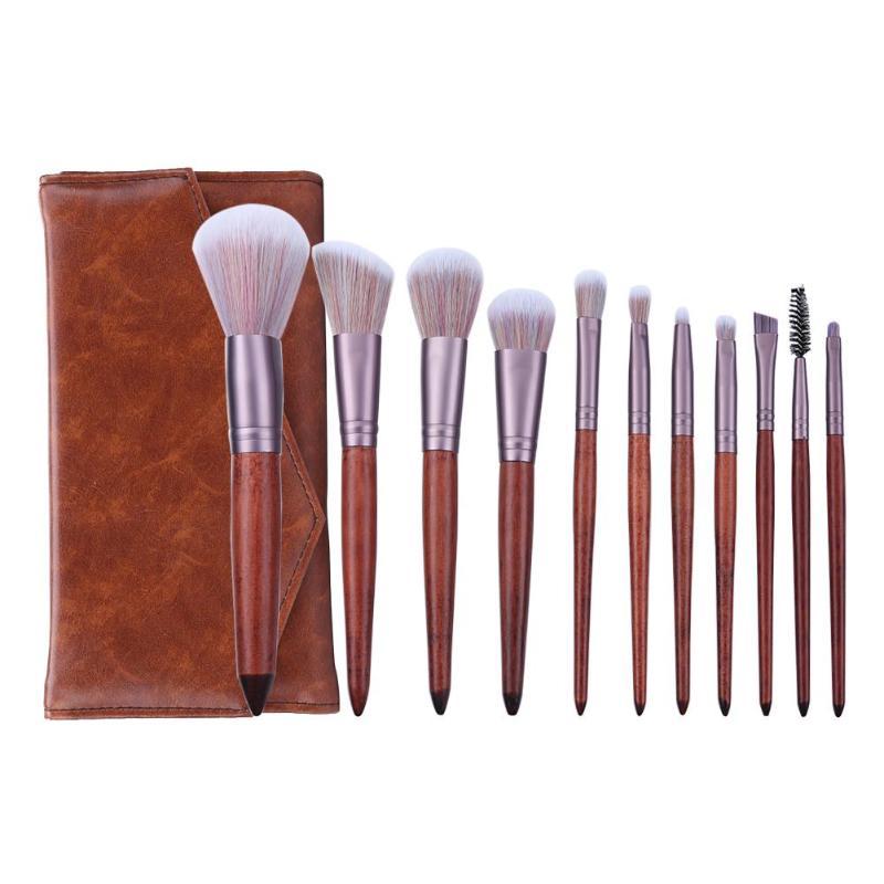 Juego de 11 Uds de bolsa de brochas de maquillaje, brocha de corrector de sombra de ojos portátil, herramienta de belleza