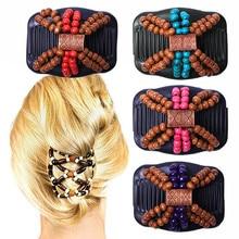HAICAR, peine para el pelo, madera para mujeres, pinzas mágicas dobles, madera + cuentas, acrílico, Retro, Vintage, peine para el pelo, regalo, AA #, triangulación de envíos