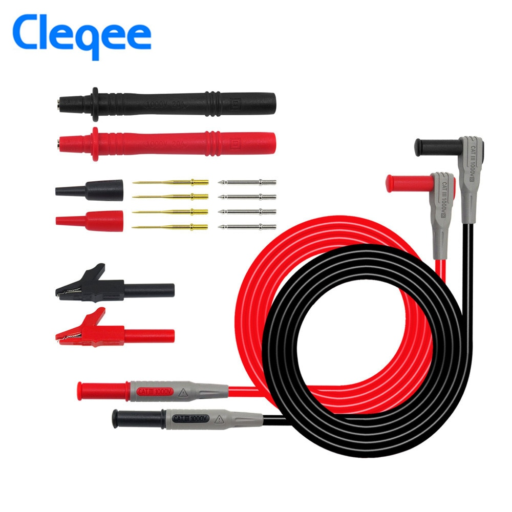 Cleqee P1300B + 12-in-1 MultiMeter Needle Probe Set Multifunction Replaceable Clamp Multi Meter Test Lead Kits + Alligator Clips