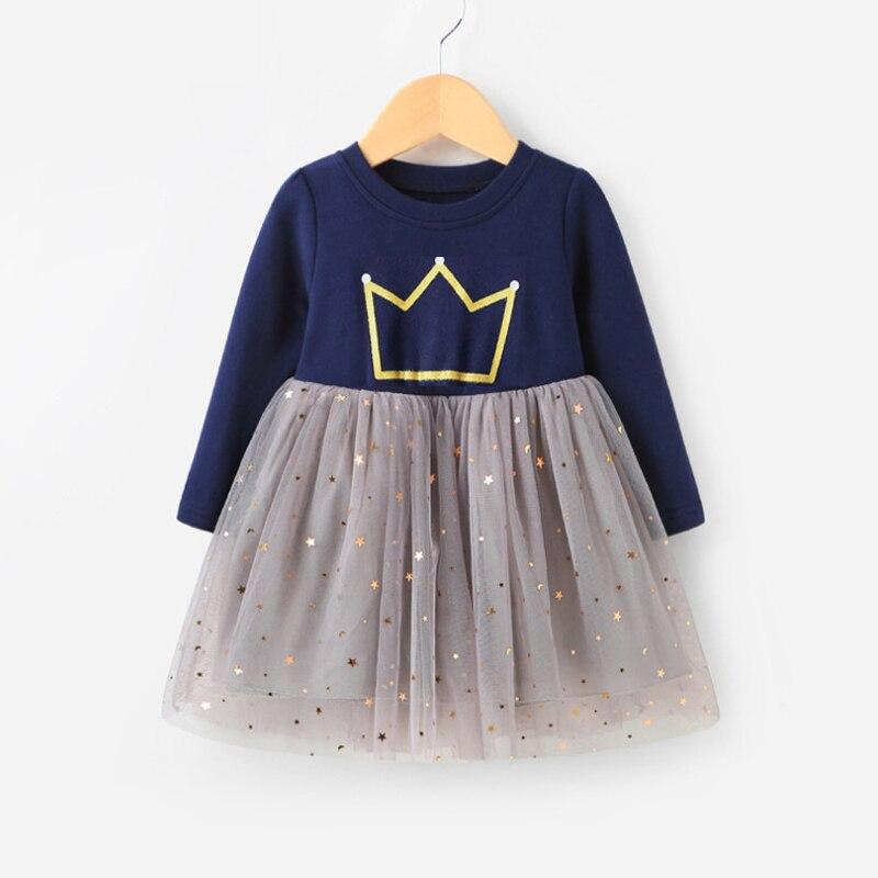2020 Spring Girl Dress Full Print Girls Clothing Long Sleeve Princess Dress For Girls Kids Costume Dress Outwear 2-8year