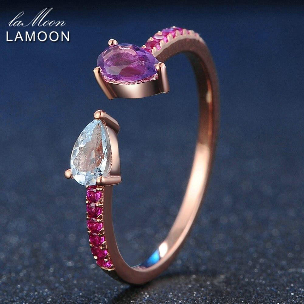 LAMOON 925 Sterling Silver Ring Topaz Amethyst Gemstone Ring 18K Rose Gold Plated Fine Jewelry TearDrop Womens Jewellery LMRI043