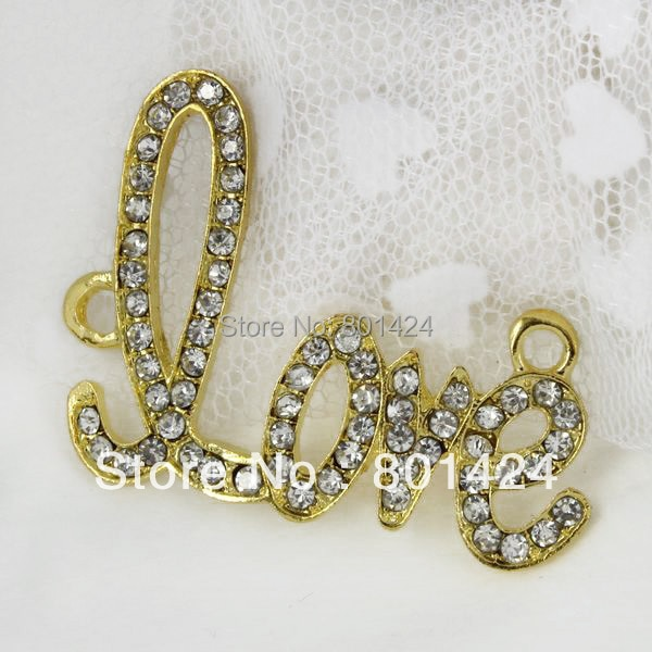 Envío Gratis 58-289 7 piezas chapado en oro Shamballa strass amor conector para bañador bikini