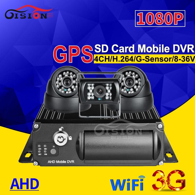 4CH 3G GPS WIFI SD Car Dvr Mobile Dvr G-sensor Real Time Watching Loop Recording+ 3Pcs Night Vision