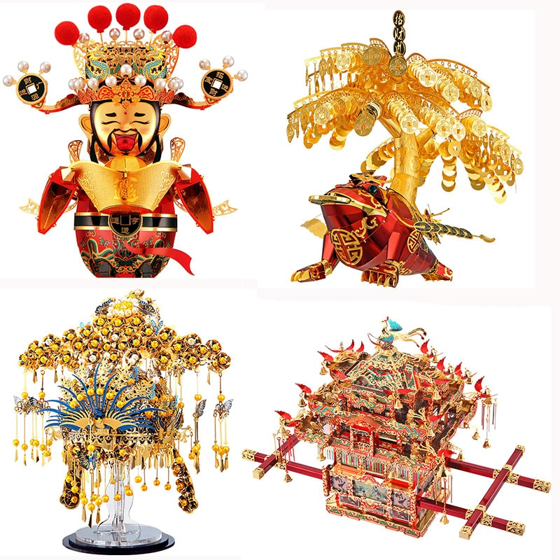 piececool 3D Metal Puzzle Model the God of Fortune/Golden Toad/Phoenix Coronet/Bridal Sedan Chair Collection Educational Toys