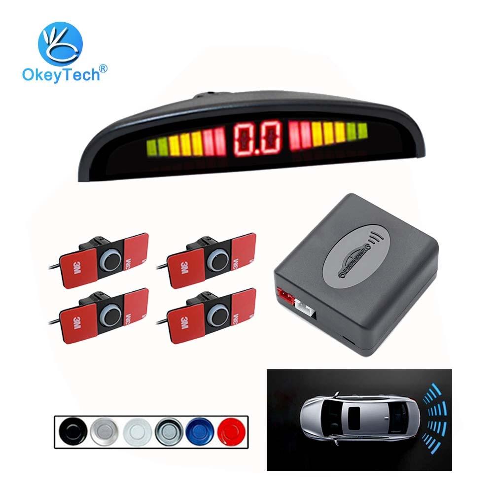 Okeytech, sensor de estacionamento automotivo, motor automotivo, led, 4 sensores, reverso, monitor radar, sistema detector, display de luz de fundo