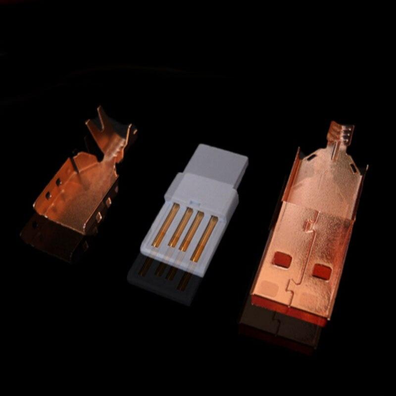 10set Fever chapado en oro rosa DIY 3 en 1 USB macho enchufe un tipo USB 2,0 conexión