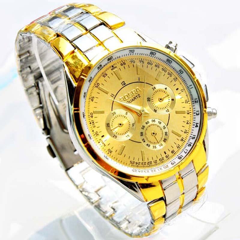 Relojes de lujo chapados en oro de la marca Rosra 18 k, relojes de cuarzo de acero completo para hombre, relojes de oro de lujo para hombre, relojes Relogio Masculino