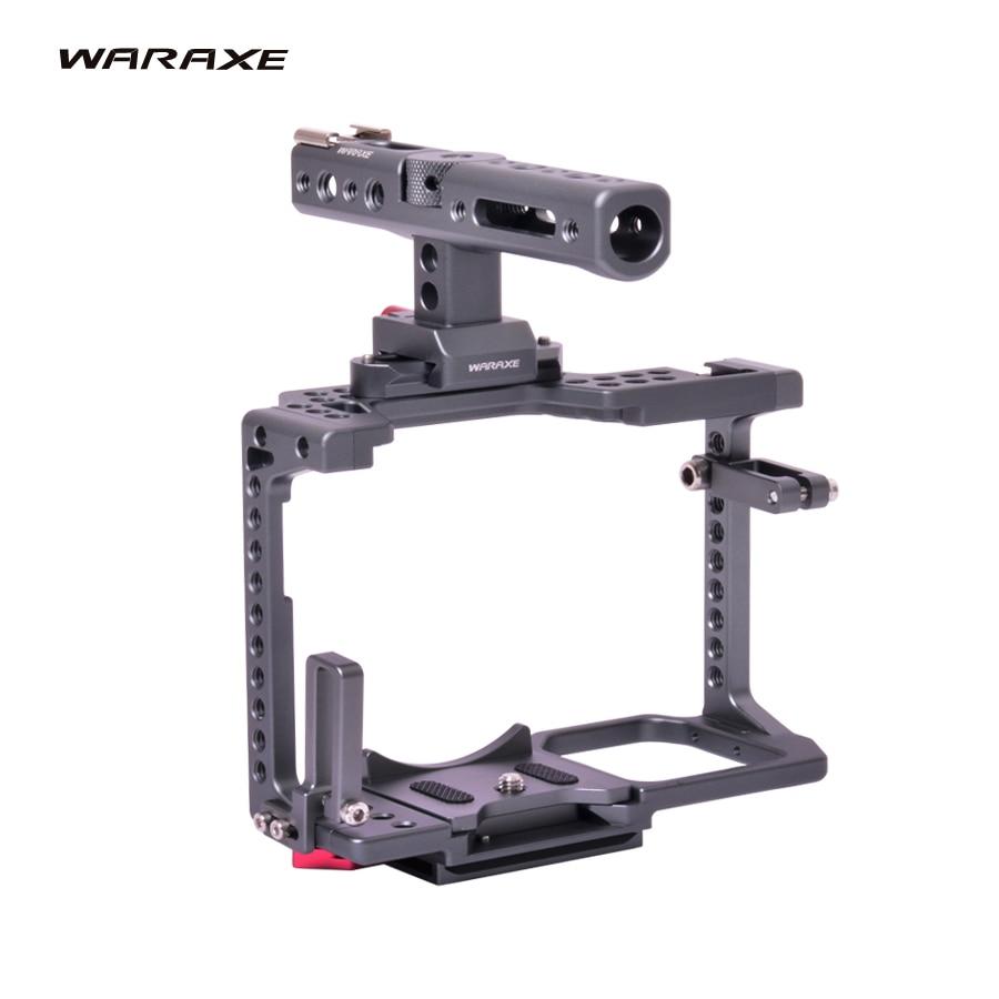 Waraxe gh5 kit câmera gaiola de vídeo & alça para panasonic gh5 gh4 dslr câmera, built-in liberação rápida se encaixa arca swiss