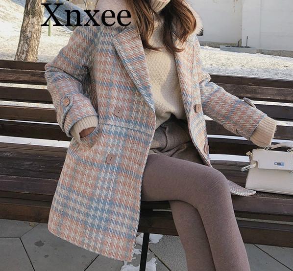 جديد Xnxee لعام 2019 ملابس خروج شتوية نسائية أنيقة من الصوف بأزرار مزدوجة