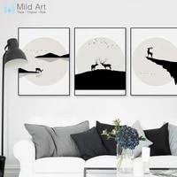 Moderne abstrait noir blanc cerf montagne Silhouette affiche imprimer nordique salon mur Art photos maison deco toile peinture