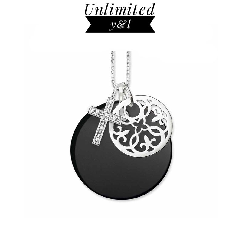Cruz negro Onyx disco adorno de flores colgante collares para Mujeres Hombres plata moda buenos regalos de joyería