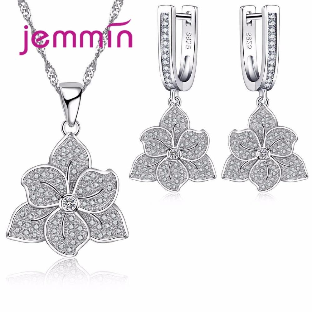 Vintage 925 en argent Sterling fleur bijoux ensembles pour cadeau de fiançailles femme pendentifs colliers boucles doreilles ensemble de mariage de mariée