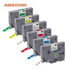 Absonic 6 PIÈCES 12mm TZe131 TZe231 TZe431 TZe531 TZe631 TZe731 Lableing Bandes pour Frère P-touch PT-D210 PT-H110 PT-D600 Imprimantes