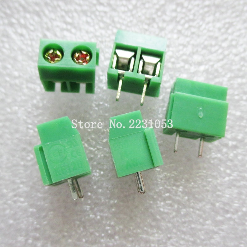 10 unids/lote terminales KF126-5.08-2P KF126-2P 250V 8A tornillo 2Pin recta de 5,08mm Pin PCB tornillo conector de bloque de terminales 26-14A WG