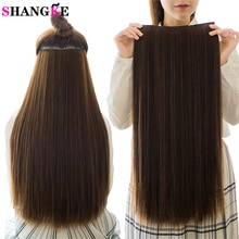 SHANGKE 5 clips/piece Natural Silky straight Hair Extention 24