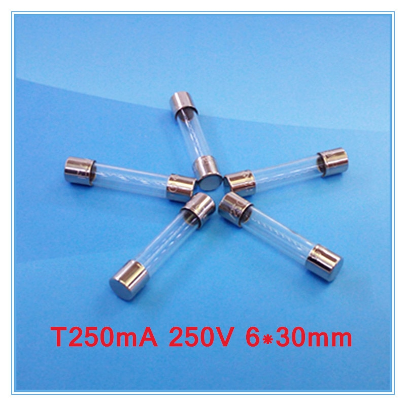 ¡(100 unids/lote) T250mA 250V 6x30mm lenta fusible de tubo de vidrio UL VDE RoHS aprobado 250mA 0.25Amp!