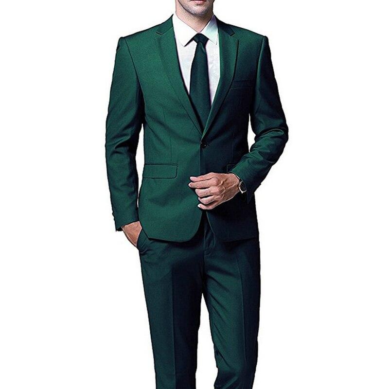 Verde oscuro noche fiesta trajes de boda para hombre de desgaste 2018 chaqueta con dos piezas Pantalones anchos de novio de boda Boda de esmoquin