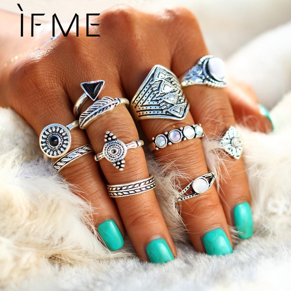 If me conjunto de anéis punk, conjunto de anéis vintage, da cor prata, antigos, anéis midi, joias naturais para praia, pçs/set pedra de opala presente