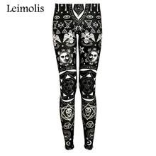 Leimolis High Waist punk rock Harajuku workout push up fitness sexy 3d print dark gothic women leggings plus size pants