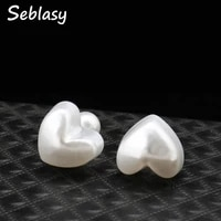 seblasy simple style double sides pearl love hearts stud earrings big ball earrings for women hot sale jewelry valentines day