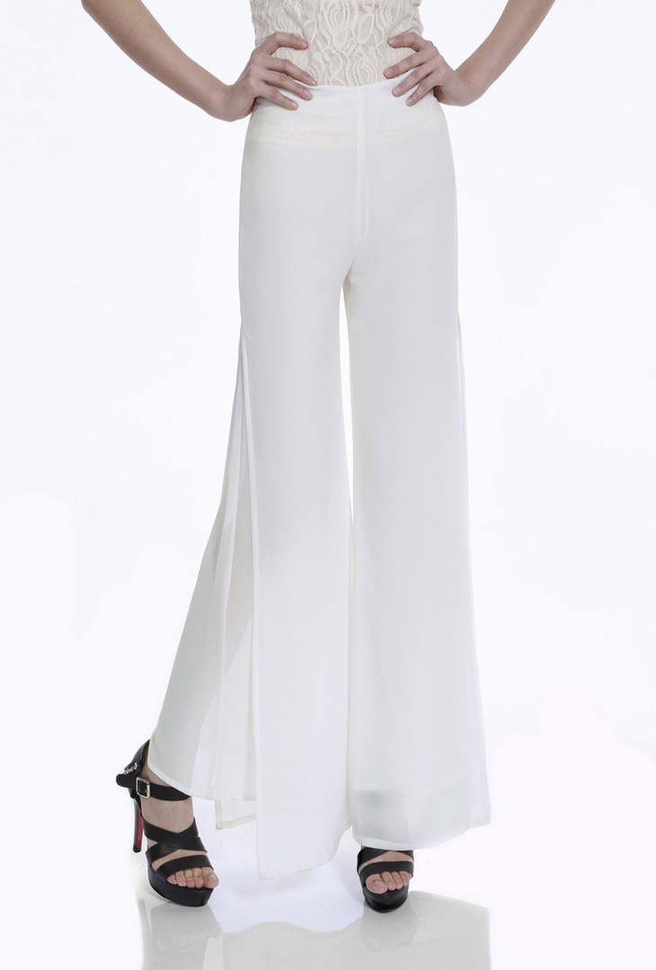 Vintage Loose High Waist Long Chiffon Side Split Casual Pants 23