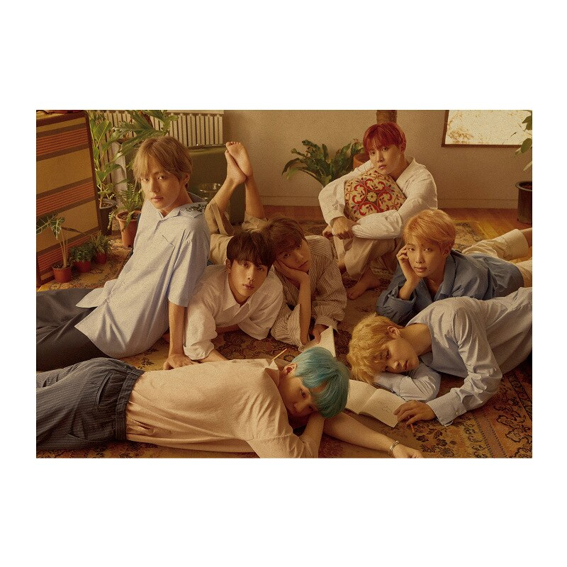 Bangtan meninos a/coreano pop idol grupo adonis menino bonito/papel kraft/cartaz da barra/retro/pintura decorativa 51x35.5cm