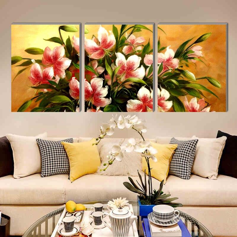 Lienzo de pintura de flores estético y atractivo, impresiones de arte para decoración del hogar, 3 fotos de pared realistas psc para el estudio del pasillo de la cocina
