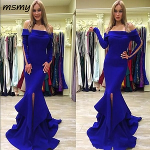 New Royal Blue Mermaid Trumpet Evening Dresses Formal Party Gowns Off the shoulder Long Sleeves Split With Train Cheap Prom
