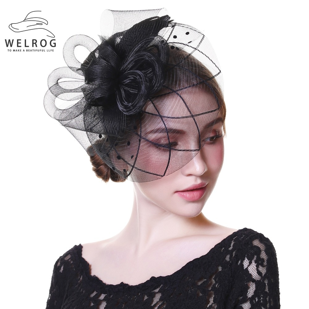 WELROG Fascinators Hat Women Flower Mesh Ribbons Feathers Fedoras Hat Headband or a Clip Cocktail Te