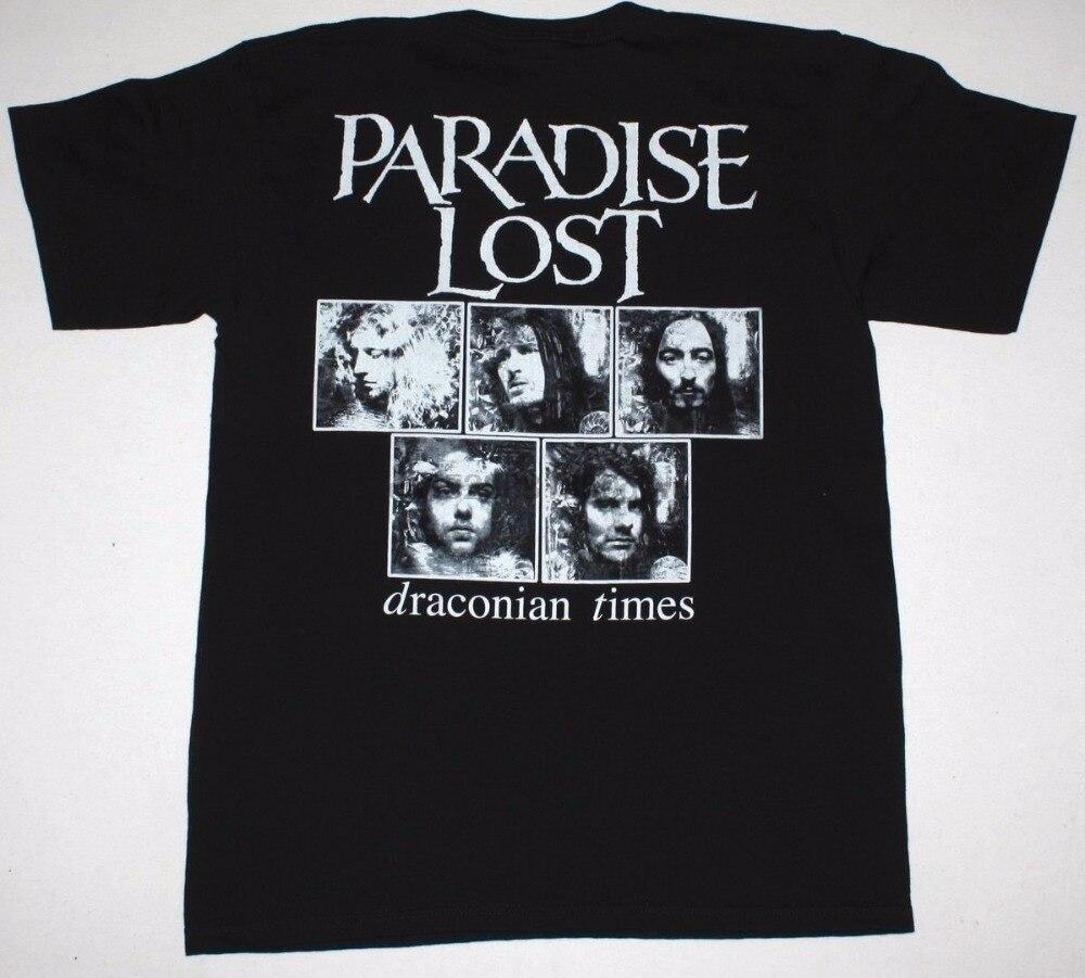 Camisa de t engraçado legal de alta qualidade t 2019 paraíso perdido draconian times doom gótico novo preto camiseta masculina streetwear