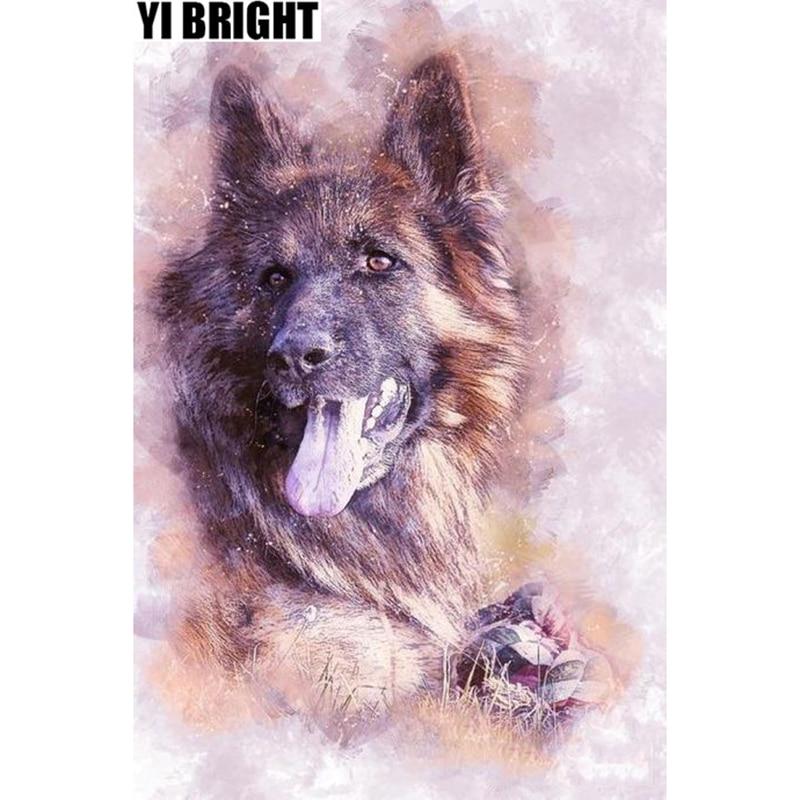 """Kits de punto de cruz de mosaico de diamantes pintura Animal """"perro pastor alemán inteligente"""" pintura de diamante 5D decoración del hogar completo"""