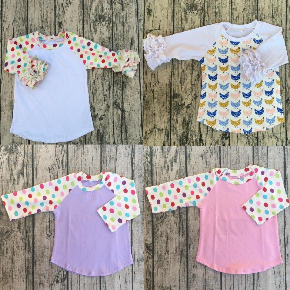 Bebé niñas bit patrón niño pot algodón ruffle glaseado raglán camisa Pijamas bebé sleeping glaseado raglán camisetas de manga larga