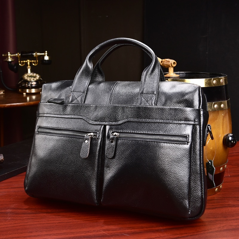 Nuevo maletín de negocios de cuero genuino de vaca de lujo para hombre, bolso de hombro, bolso de mensajero para hombre, bolso de mano para ordenador