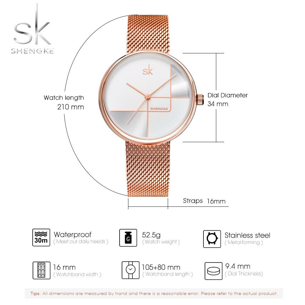 Shengke Luxury Rosegold Mesh Women Ladies Watches Quartz Japanese Move Female Clock Waterproof Wristwatches new 2019 enlarge