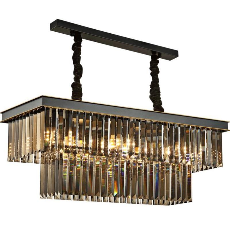Lámpara de comedor, lámpara de araña, lámpara de cristal Rectangular con personalidad creativa para comedor, lámpara moderna para Bar