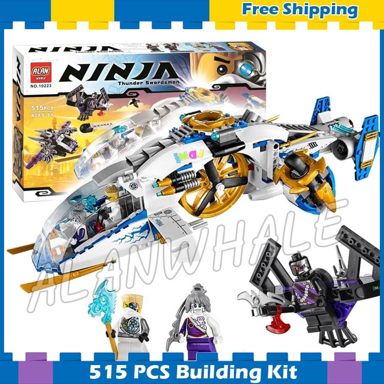 515 pçs ninja helicóptero ninjacopter aeronaves nindroid jet fighter 10223 modelo blocos de construção presentes conjuntos compatíveis com lago