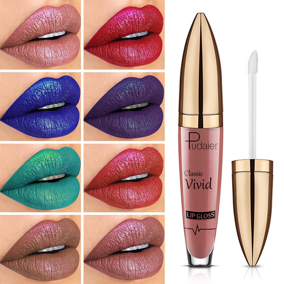 Pudaier 18 colores de brillo diamante líquido lápiz labial conjunto maquillaje Nude brillante barra de labios resistente al agua mucho brillo de labios duradero cosméticos