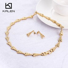 Kalen luxe or couleur ensemble de bijoux en acier inoxydable tour Eiffel collier à breloques collier boucles doreilles ensemble accessoire de Costume pour les femmes